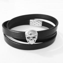 Rockoeur Bracelet en Cuir noir et Tête de Mort en Métal Argenté